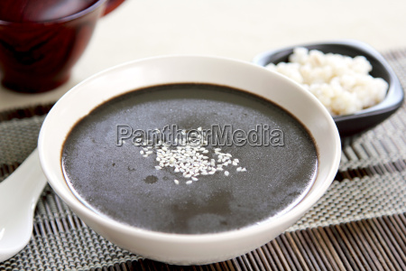 black sesame with pearl barley soup