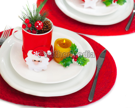 christmastime table setting
