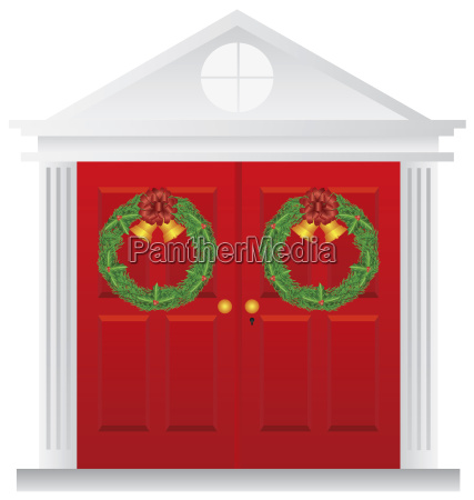 christmas wreath hanging on double red