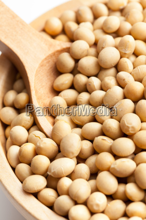 soy beans in wooden bowl