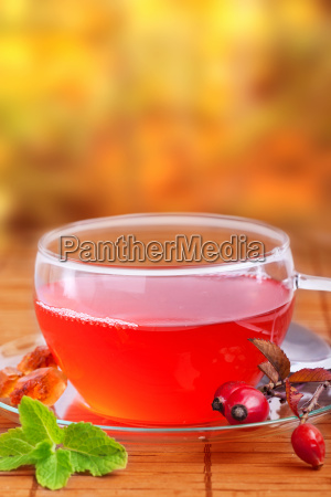 rosehip tea with natural background