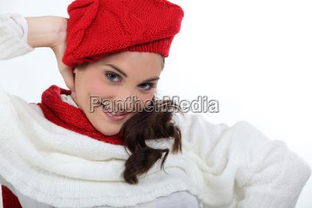 woman posing in stylish knitwear