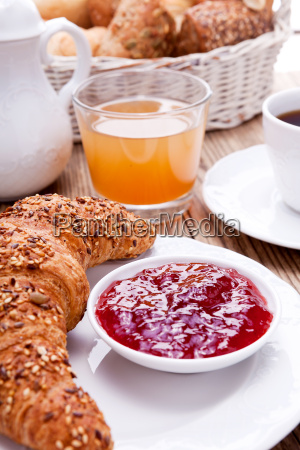 french breakfast with coffee and croissant