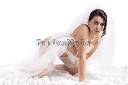 bride in lingerie