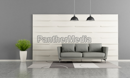 modern lounge with white wooden panel