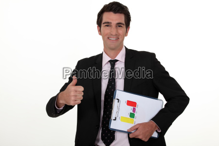 young businessman thumb up holding clipboard