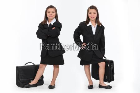 schoolgirls dressed as businesswomen
