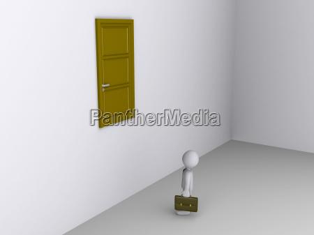 businessman can not reach door to