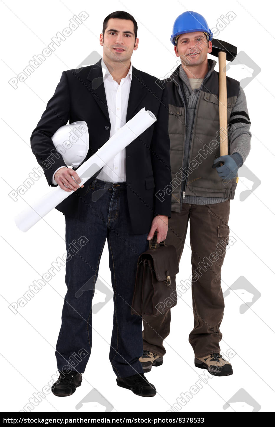 architect, stood, by, worker, with, sledge-hammer - 8378533
