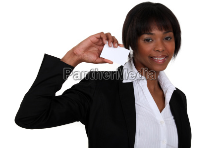 businesswoman with a card left blank
