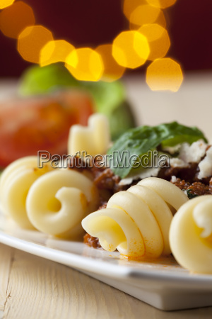 spirelli noodles with sauce bolognese