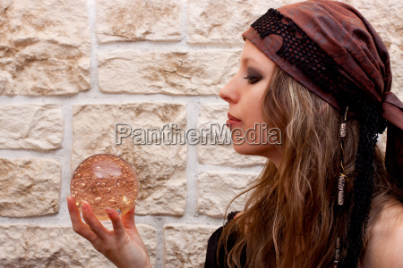 side view of a fortune teller