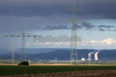 storm clouds over the nuclear power
