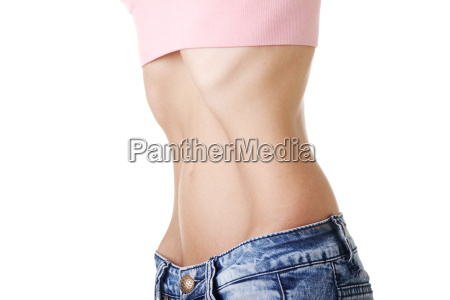 belly of young female with anorexia