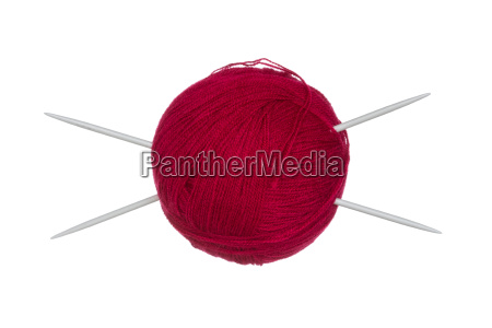 wool ball and knitting needles