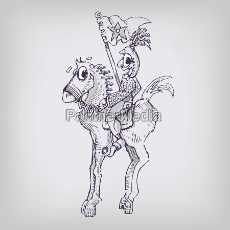 drawing rider horse and middle ages