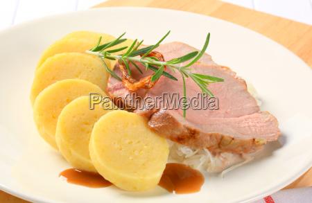 pork with potato dumplings and white