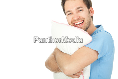young man with a pillow