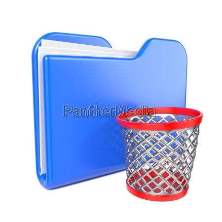 blue folder with trash bin on