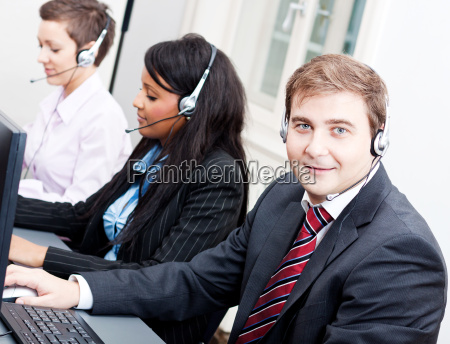 call center staff friendly with headphones