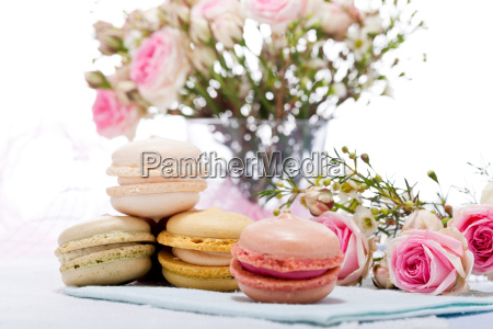 traditional delicious sweet macarons pastry with
