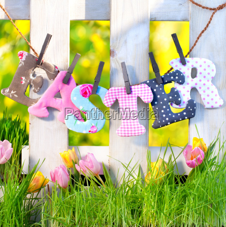 easter letters on the fence in