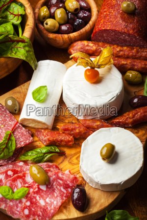 antipasto catering platter with different meat