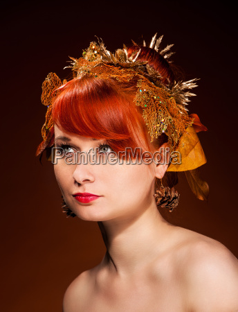 beauty portrait of red hair female