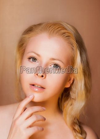 portrait of pretty young woman blonde