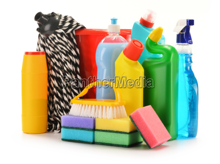 detergent bottles isolated on white chemical
