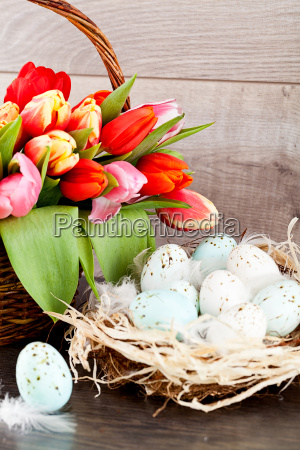 festive traditional easter decoration with tulips