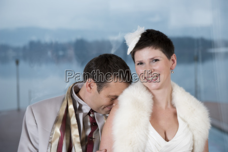 bridal couple laughing