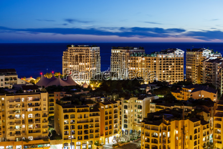 aerial view on illuminated fontvieille and