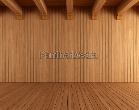 empty wooden room with ceiling beams