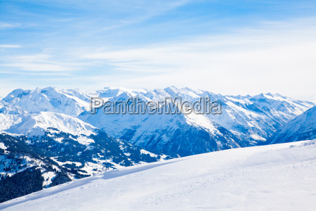 landscape of the mountains covered with