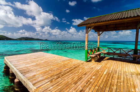dock in turquoise water
