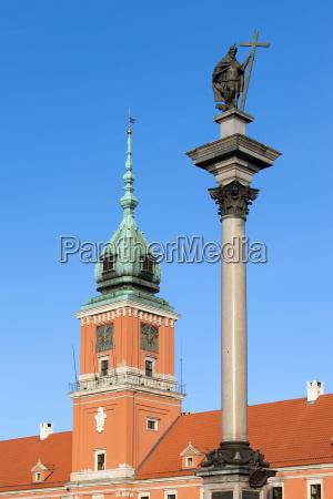 sigismund column and royal castle in