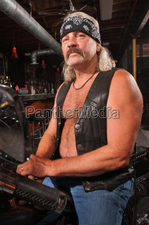 biker gang man on motorcycle