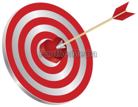 arrow on target heart bullseye illustration