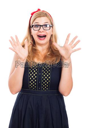 happy ecstatic woman