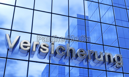 insurance facades text concept blue