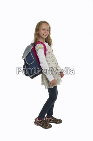 schoolgirl with a heavy satchel