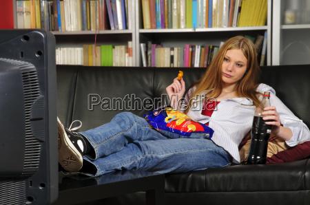 teenage girl on the sofa