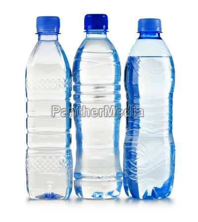plastic bottles of mineral water isolated