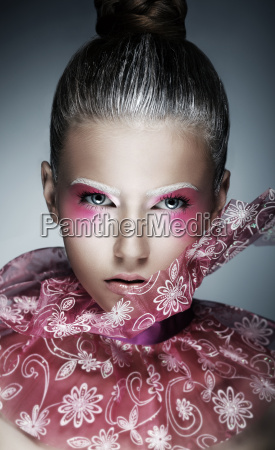 stylish woman with creative face