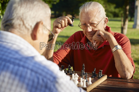 active retired people two senior men
