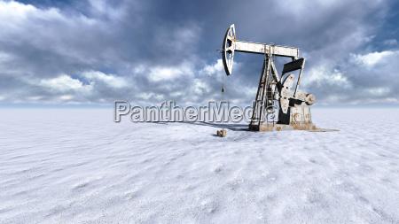 oil field at snow