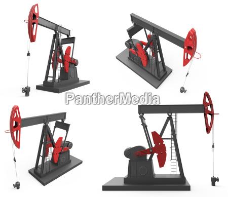 pump jacks isolated on white background