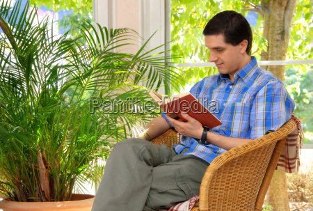 man reads gently in the friendly