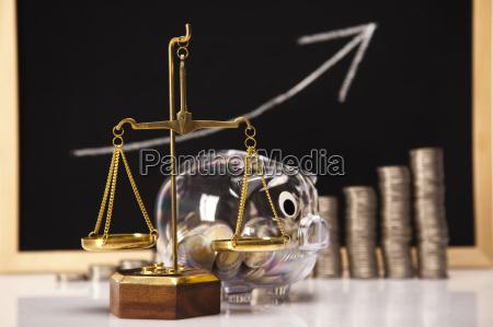pig bank and money rising coins